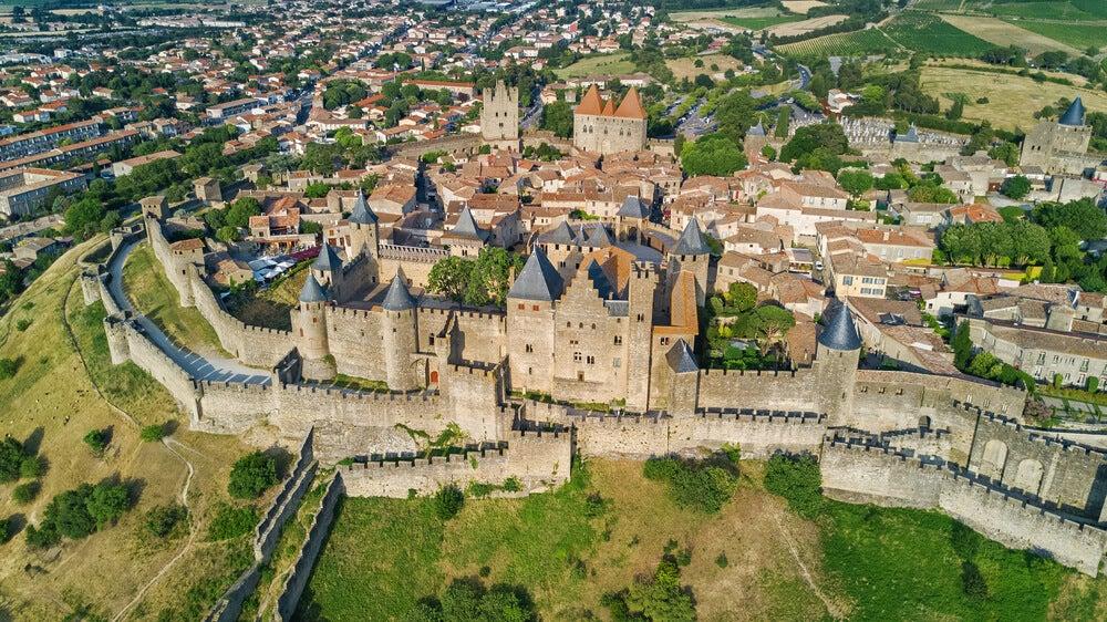 Vista aérea de la ciudad medieval de Carcassonne