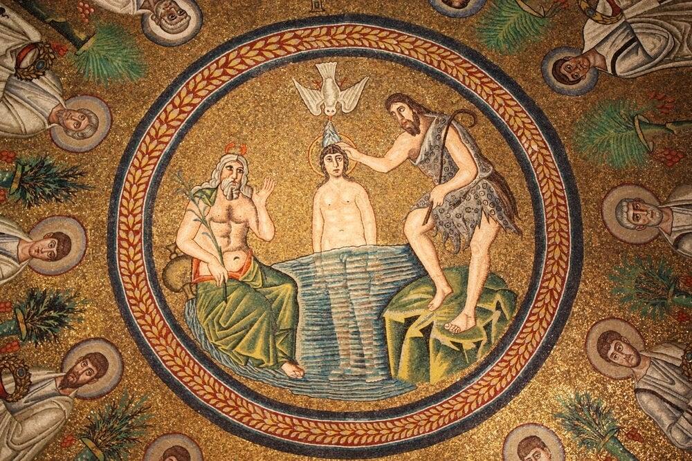 Mosaico en el Baptisterio arriano