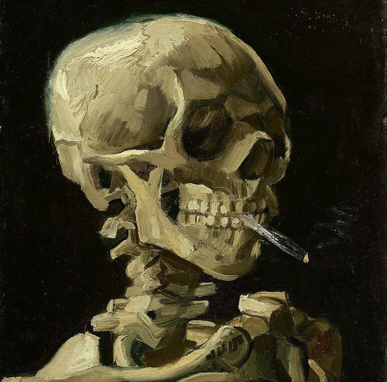 Calavera fumando de Van Gogh