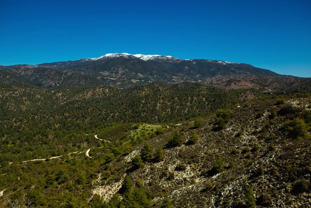 Vista del monte Olimpo en Chipre