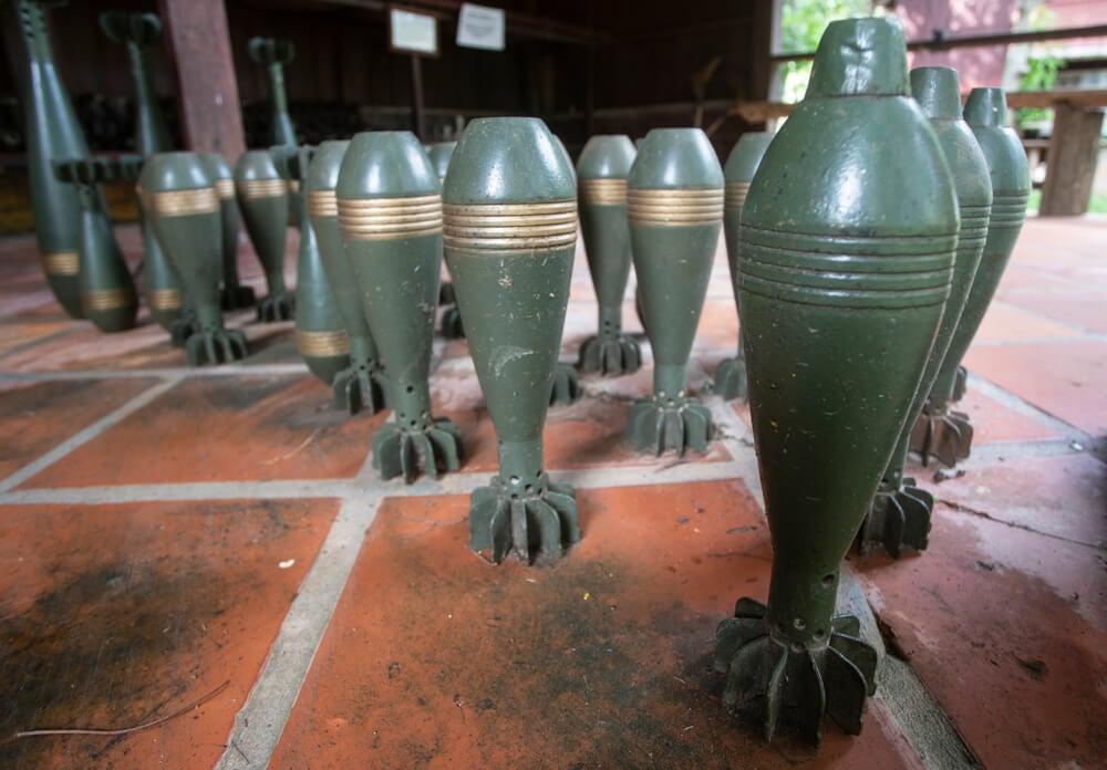 Bombas en el Museo de la Guerra de Camboya