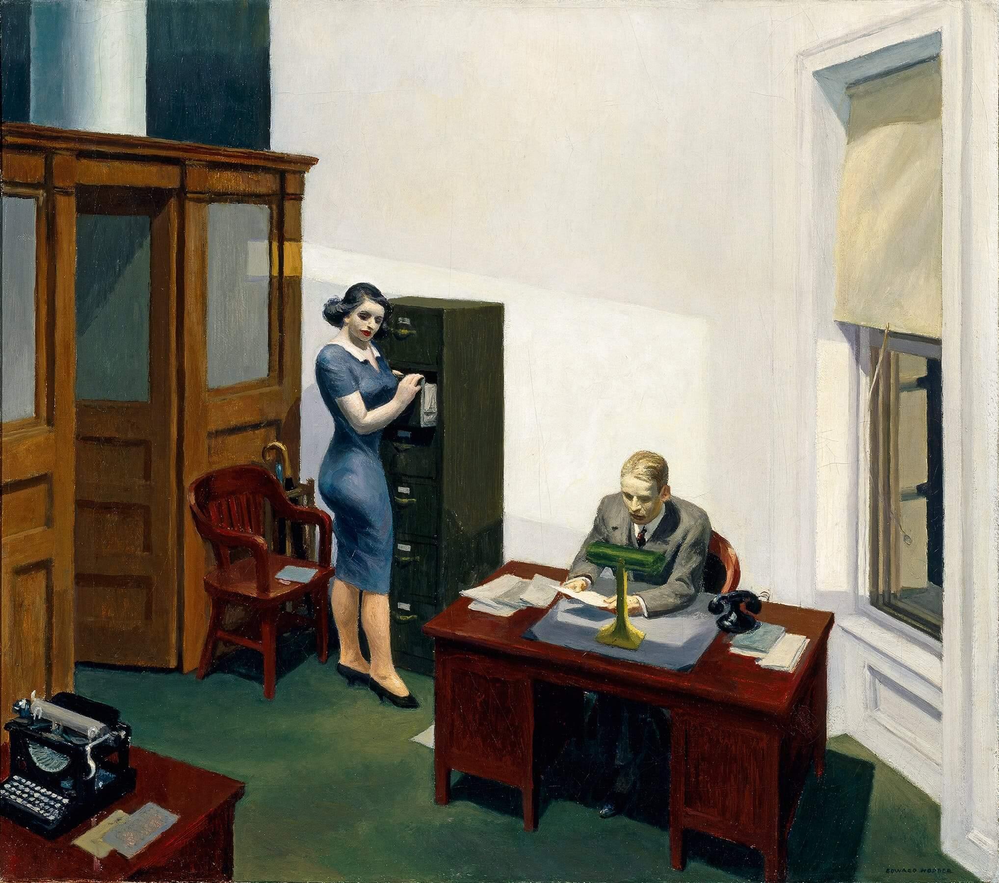 Cuadro 'Oficina de noche' de Hopper