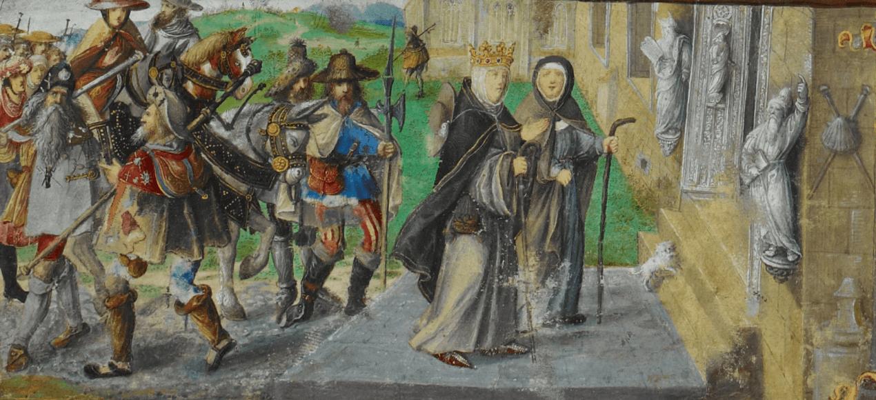 Representación de una peregrinación en la Edad Media