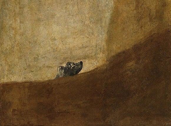 Perro semihundida, una de las Pinturas negras de Goya