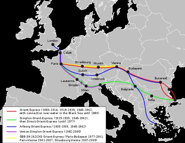 Plano con las rutas del Orient Express