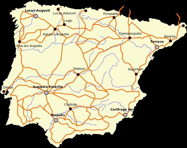 Mapa de las calzadas romanas en España
