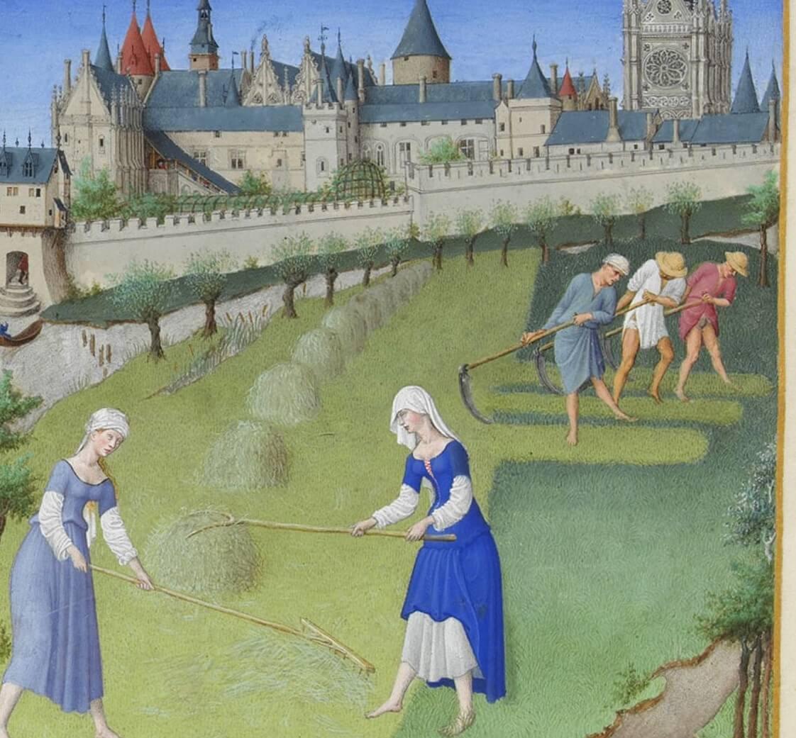 Escena campesina de mujeres en la Edad Media