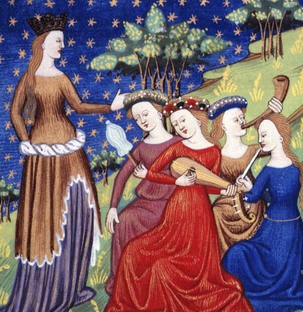 Mujeres tocando en la Edad Media