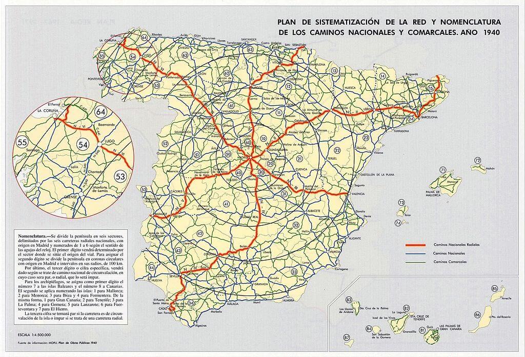 Mapa de la numeración de las carreteras en España