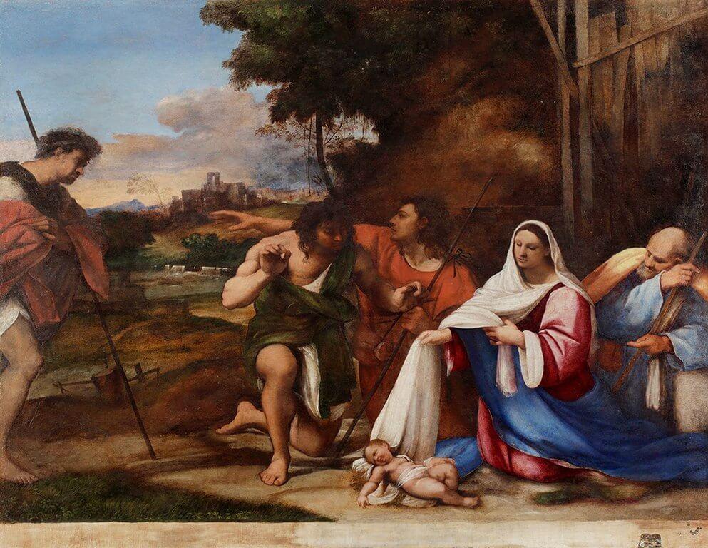 'La adoración de los pastores' de Piombo, de la pintura veneciana