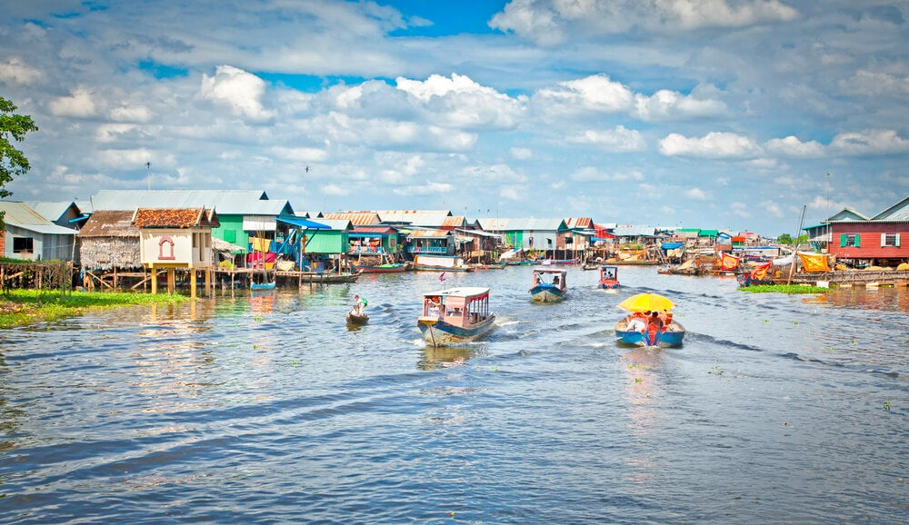 Aldea flotante en Tonlé Sap