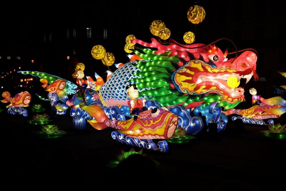 Dragón en la Fiesta de las Luces de Lyon