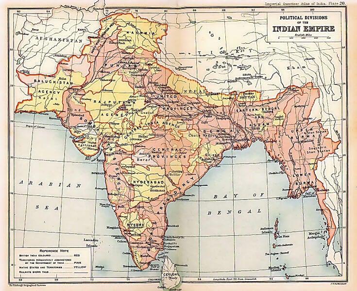 Mapa del Imperio británico en la India