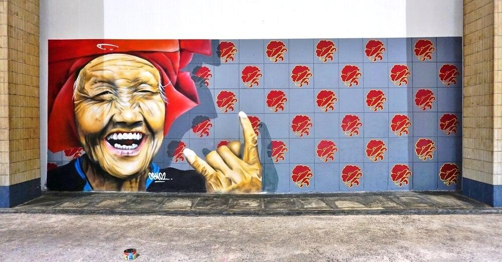 Ejemplo de arte urbano de Singapur