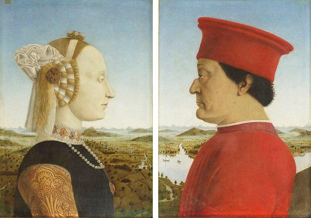 Doble retrato de Federico da Montefeltro y su esposa Battista Sforza