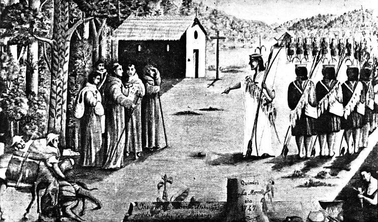Dibujo de Juan Santos Atahualpa en Quimiri