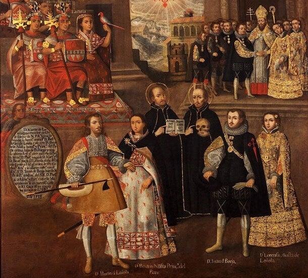 Cuadro Matrimonios de Martín de Loyola con Beatriz Ñusta y de Juan de Borja con Lorenza Ñusta de Loyola, de la escuela cusqueña