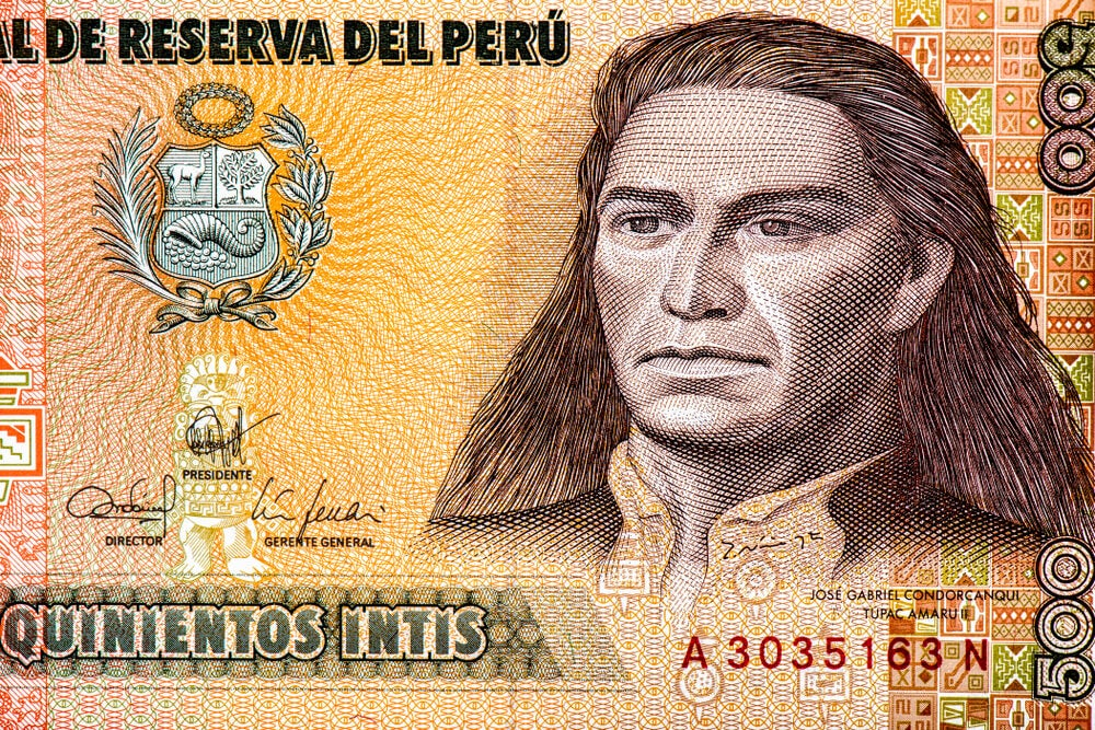 Billete con la imagen de Tupac Amaru II, líder de las rebeliones indígenas