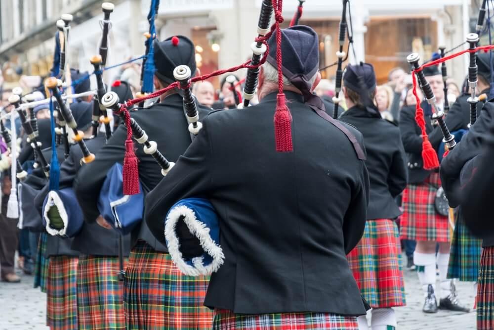 Gaiteros en uno de los festivales de Edinburgo