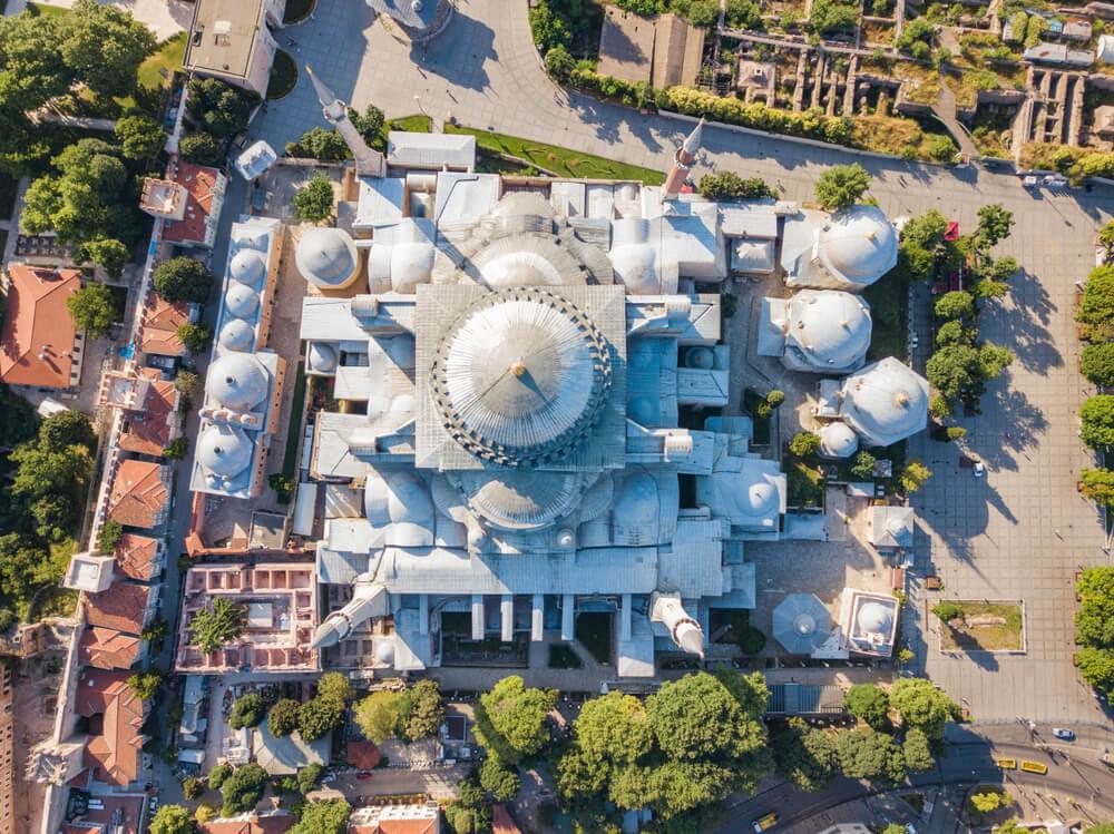 Vista aérea de la construcción