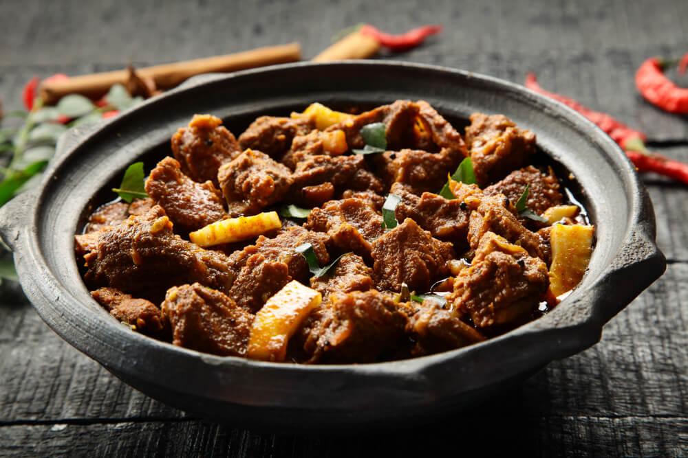Plato de goat curry