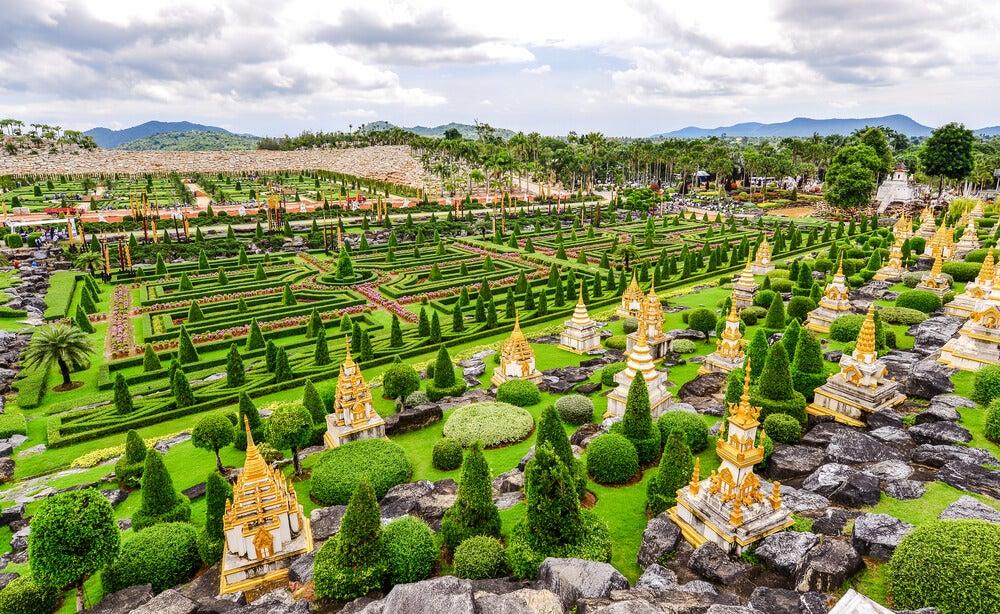 Vista de los jardines de Nong Nooch