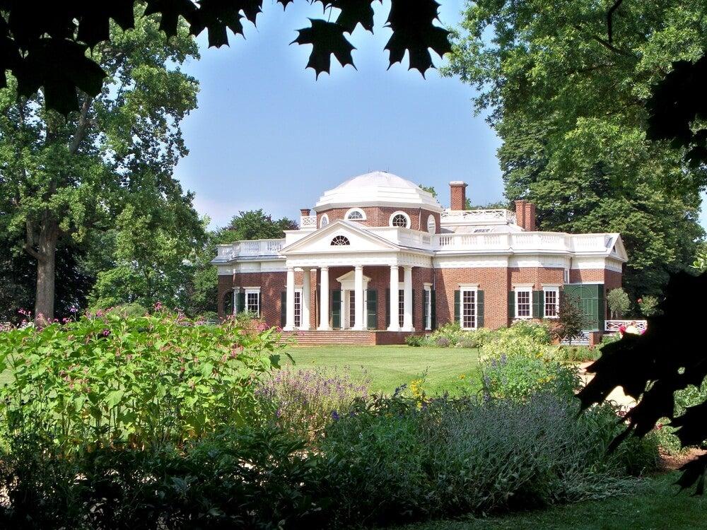 Vista de Monticello, una de las excursiones desde Washington