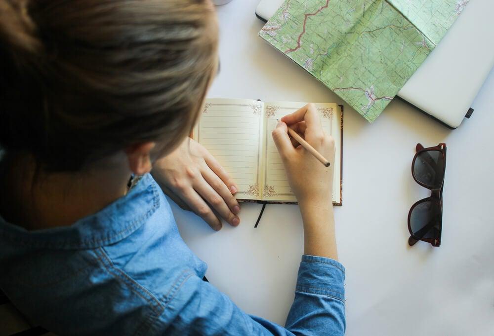 Viajero escribiendo