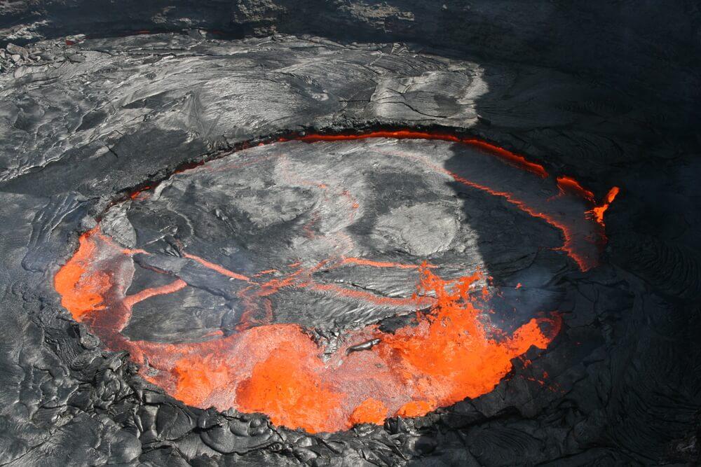 Vista aérea del volcán Erta Ale