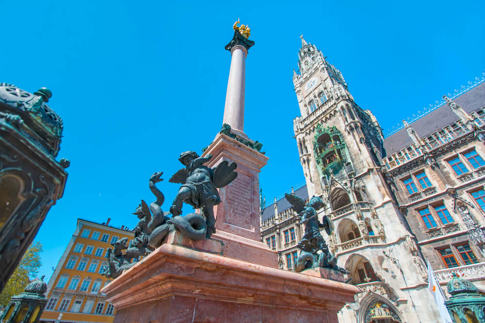 Columna de MAría en la Marienplatz de Múnich