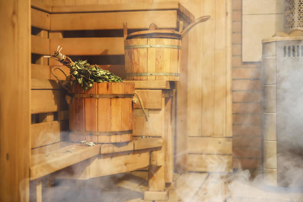 Elementos en una sauna finlandesa