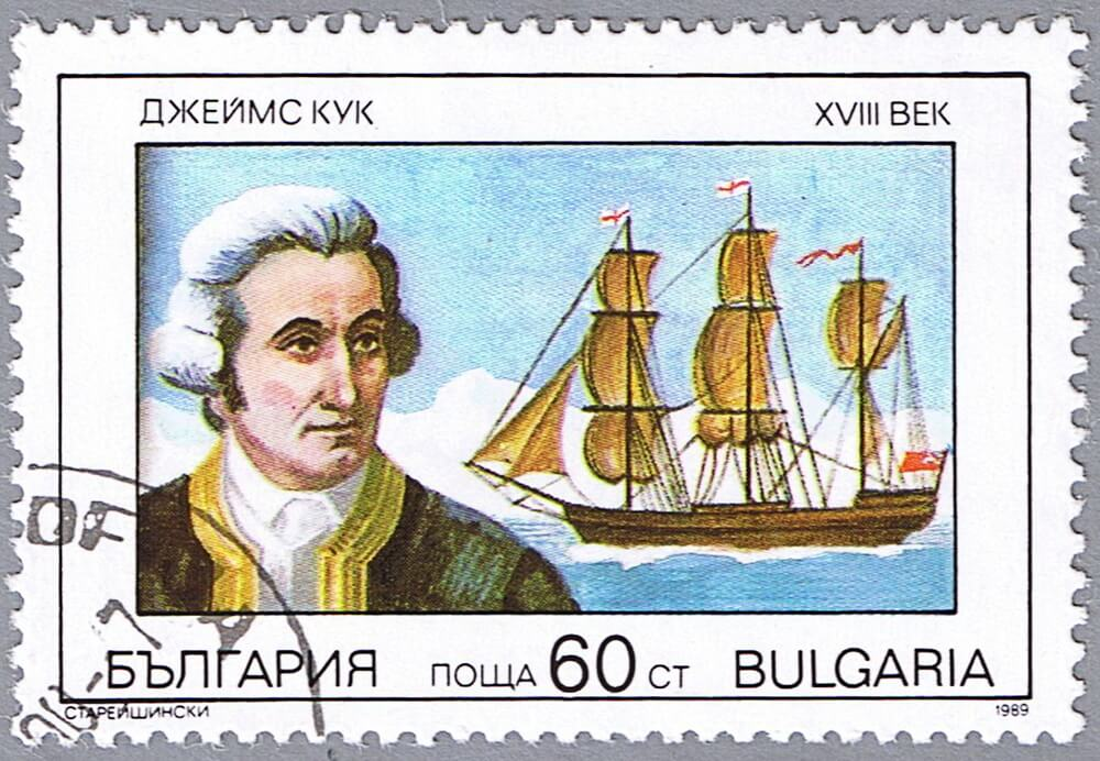 Estampilla de Bulgaria en homenaje a James Cook.