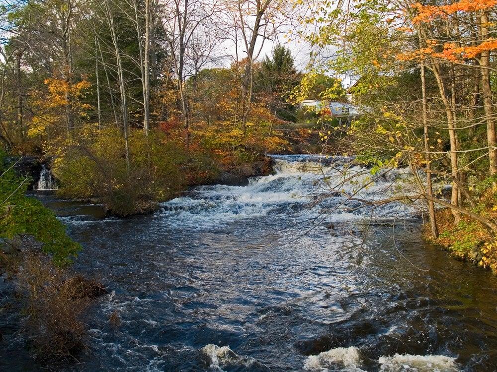 Río que corre en las montañas Pocono, en Pensilvania.