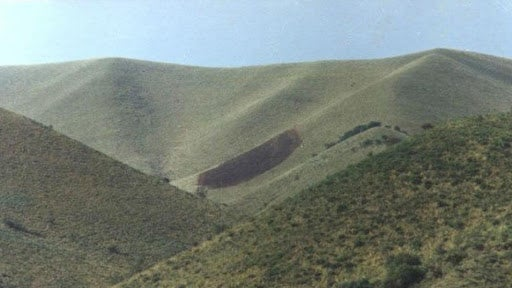 """La famosa """"Huella del pajarillo"""" que apareció en Capilla del Monte."""