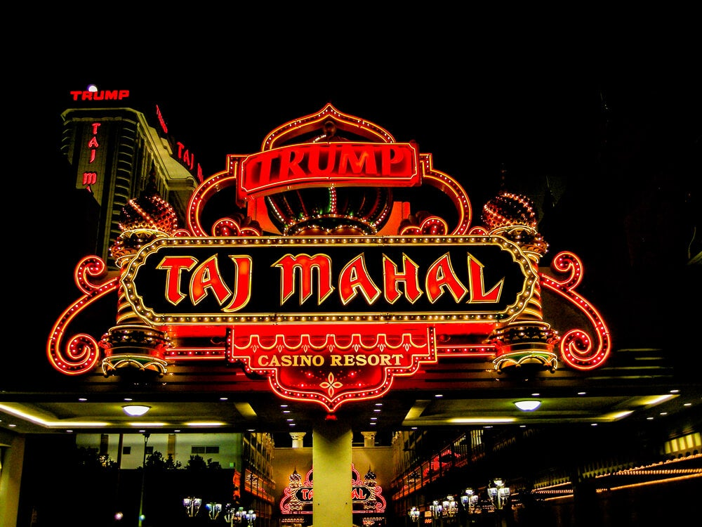 El luminoso del Taj Mahal, en Atlantic City.