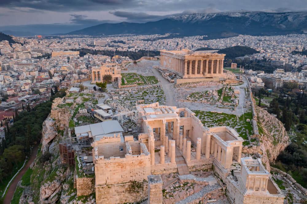 Vista aérea del Partenón, en Grecia.