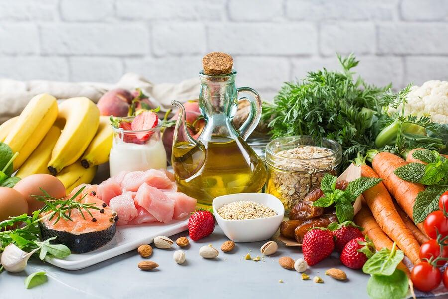 Ingredientes principales de la dieta mediterránea.