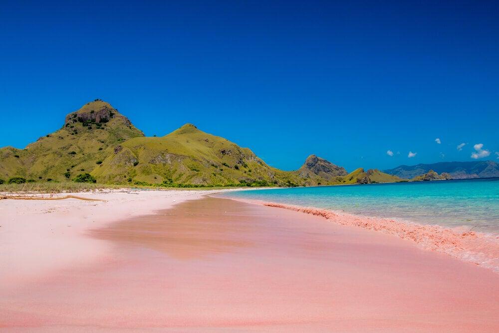 Playa rosada en la Isla de Padar, en Indonesia.