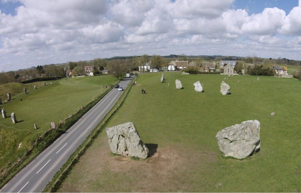 Imagen aérea del círculo de piedra de Avebury.