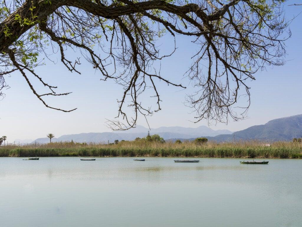 Pescadores en el lago de Estany de Cullera de Valencia.