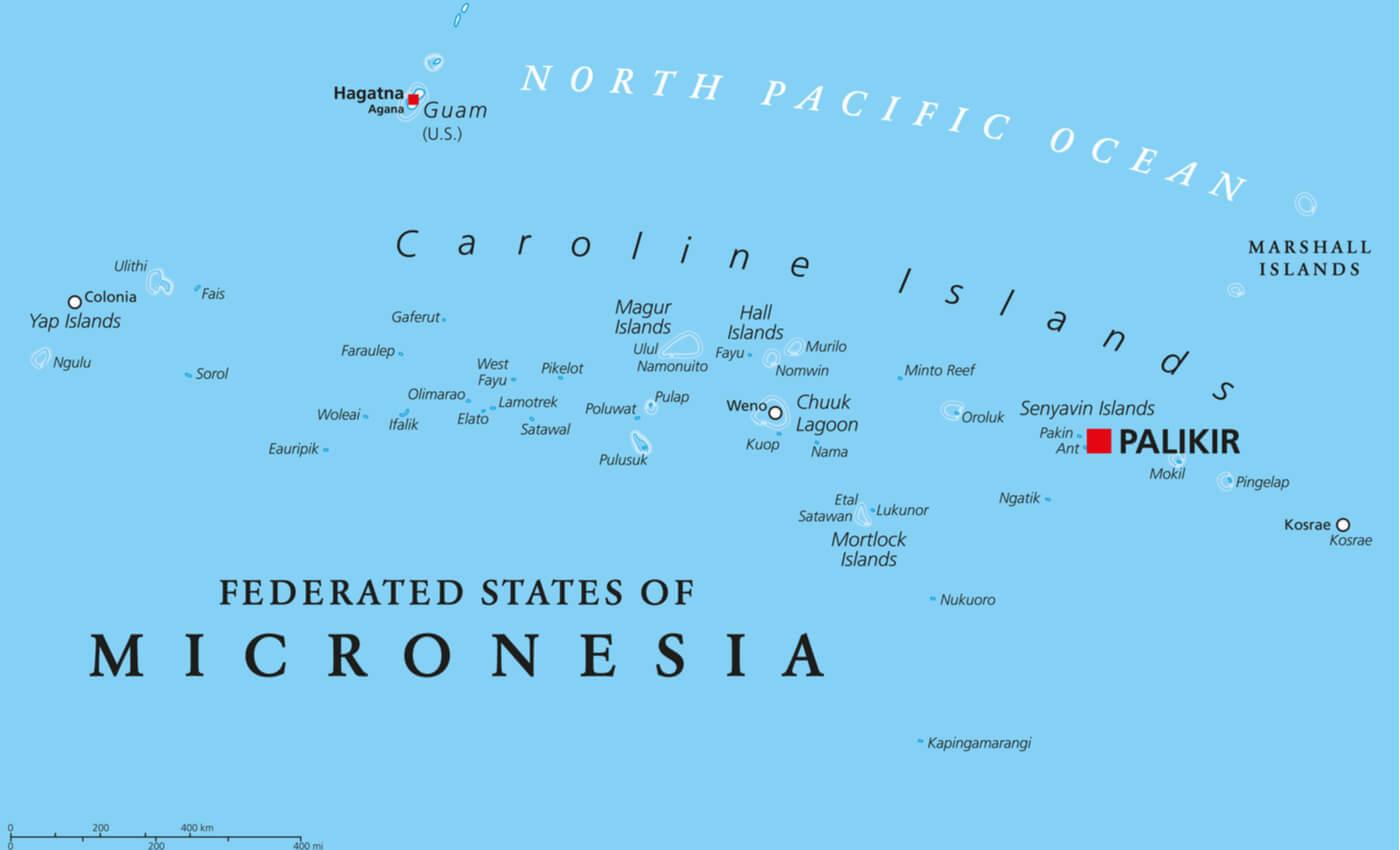 Mapa de las islas de los Estados Federados de Micronesia.
