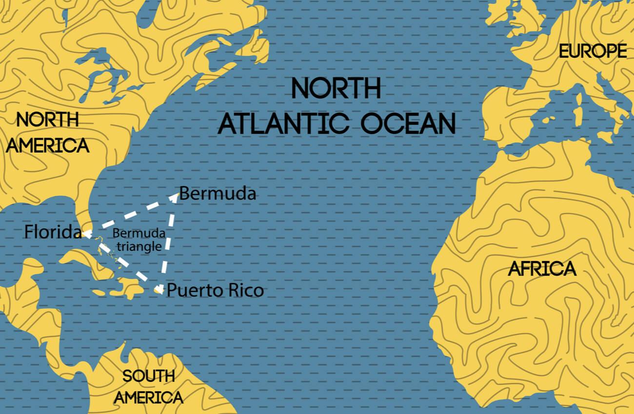 Mapa con la ubicación del Triángulo de las Bermudas.