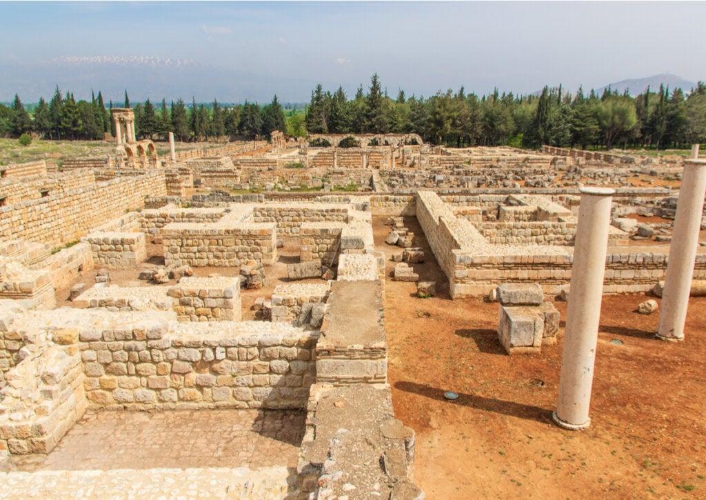 Los restos de las ruinas de Anjar, en territorio del Líbano.