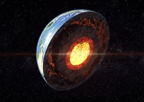 Vista tridimensional del interior del planeta Tierra.