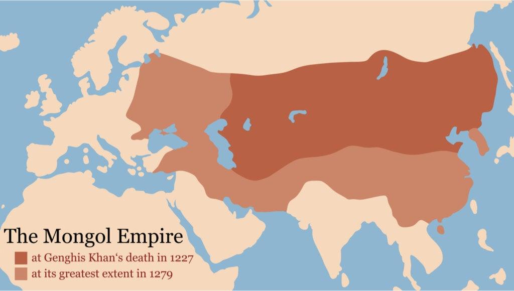 Mapa que demuestra la extensión e historia del Imperio Mongol.