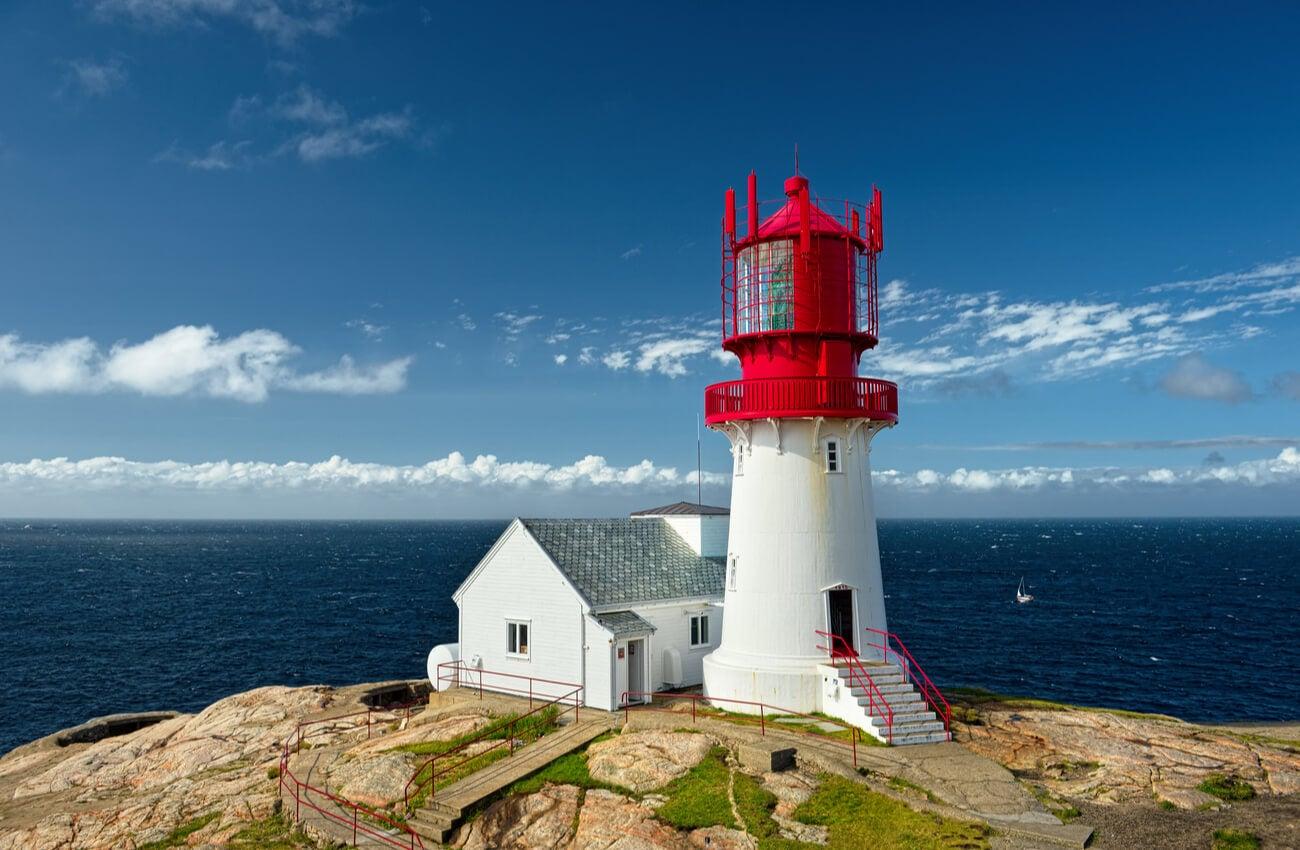 El faro Lindesnes es un atractivo del sur de Noruega.
