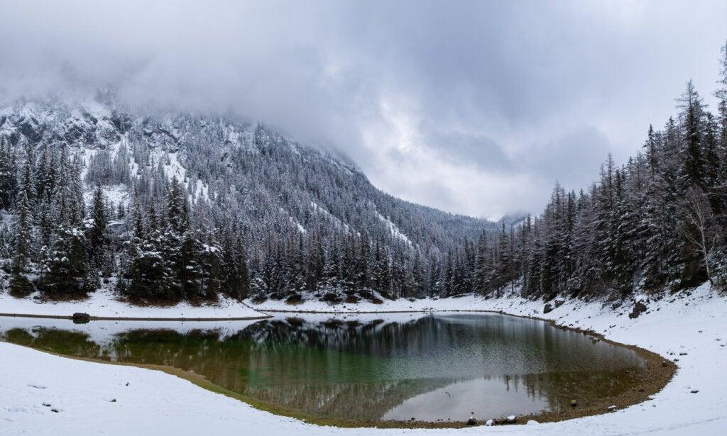 En invierno, la nieve abunda en Grüner See.