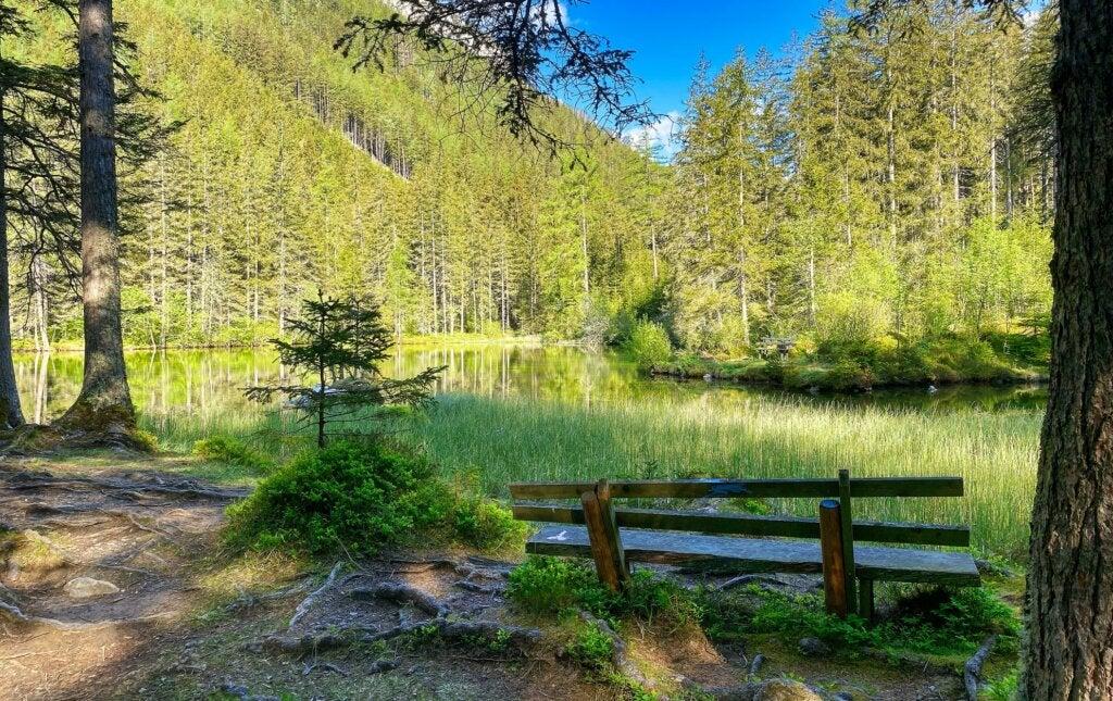 El agua ya derretida cambia el paisaje en el Lago Verde de Austria.